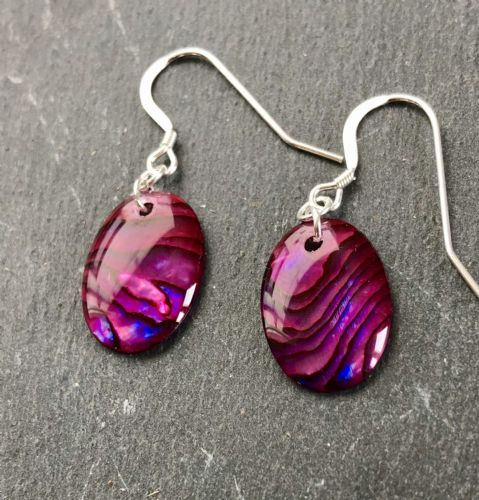Paua Red Earrings Oval PE18